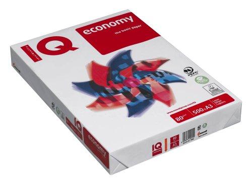 IQ economia Risma di carta per fotocopie mono Stampa e Copia 80G/Mq, formato A3, 500fogli, colore iqecoa3]