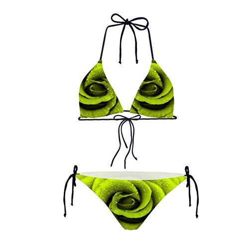 Traje De Baño Mujer,Traje De Baño Señoras Planta Patrón Rosa Verde Impresión 3D Moderno Encaje Dreamgirl Tiras Butt Inferior Vendaje Reunir/Separar Bikini Set/Bañador Micro Mini Tanga Brasile
