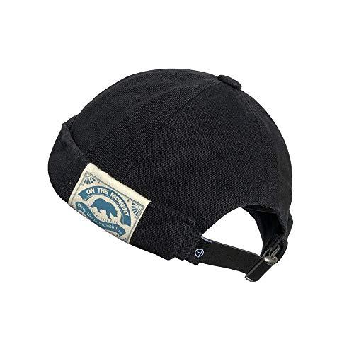 Clape Docker Cap Summer Seemannsmütze, Thin Sailor Cap Cotton Retro Brimless Hat, Basecap für Herrn und Damen, 21.3-23.6 Zoll/ 55-60CM, CT36-Black