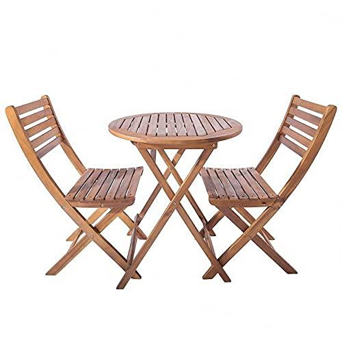 BIANGEY Conjunto de Muebles de jardín Plegable, Conjunto de bistró 3 Piezas, Maquillaje de Madera de Acacia, 2 sillas y 1 Mesa Redonda, jardín, terraza, Villa, Junto a la Piscina