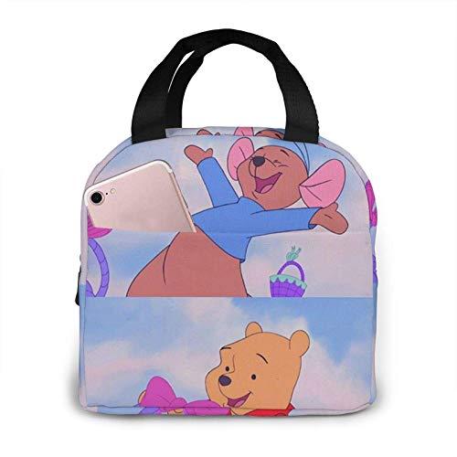 Bolsa de almuerzo portátil Winnie The Pooh Smile Bolsa de almuerzo con aislamiento reutilizable Caja de asas con bolsillo frontal Cierre de cremallera para mujer Hombre Trabajo