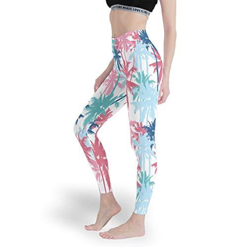 Lind88 Leggings elásticos para mujer con estampado de palma tropical, pantalones lindos para mujer, color blanco