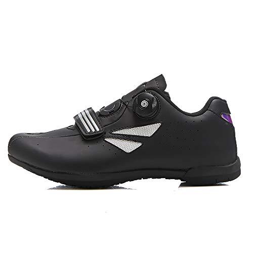 LU-Model Zapatillas de Ciclismo para Carretera Plus, con Suela de y Sistema rotativo de precisión Suela Dura para Zapatos de Montar sin Bloqueo Black-36
