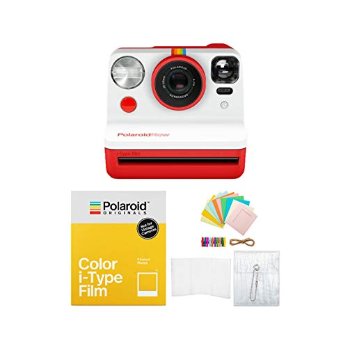 Polaroid Originals Now Viewfinder i-Type Instant Camera (Red) with i-Type Films and Accessory Bundle (3 Items)
