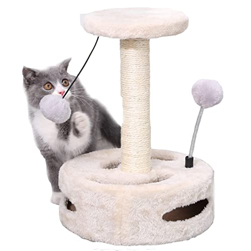 ZAQI Rascador Gato Dentro Árboles de Actividad de Gato, Gatito Joven Gatos Adultos Mobiliario de condominio, Vertical De pie Pequeña Casa Redonda para Mascotas, Jugando Relajarse Dormir, Blanco