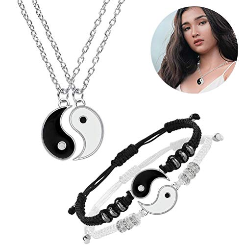 Tianlun Taichi Bagua Pendant, Vintage Style Yin Yang Pendant Necklace Couples Matching Pendant Necklace Fashion Alloy Puzzle Matching Necklace for Valentine's Day Anniversary