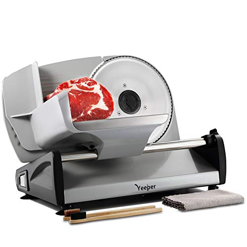 "Yeeper Electric Meat Slicer for Home Use, with CHILD LOCK & CLEAN KITS & REINFORCED PUSHER, 7.5"" Deli Food Slicer Machine for Frozen Meat Bread Salami Bacon Ham Cheese Jerk Meat Cutter Machine 150w"