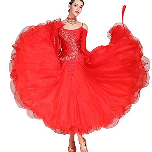 Vals De La Competencia De Danza Moderna Vestido De Saln De Baile Nacional Estndar Disfraces De Manga Larga, Ms Colores Tango Rhinestone Disfraz Mujer (Color : Wine red, Size : L)