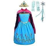Lito Angels Vestido de Coronación de Princesa Elsa para Niñas Pequeños Disfraz de el Reino del Hielo Halloween Fiesta Cumpleaños con Capa y Accesorios, Talla 4-5 años