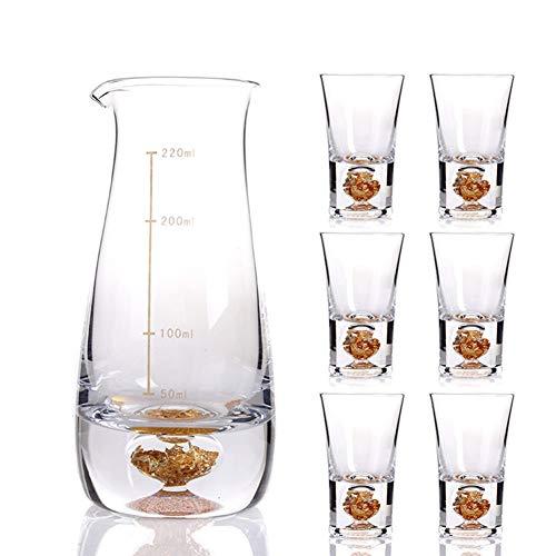 ZSLD Kristall Sake Set Gläser Mit 1 Sake Karaffe Flasche Und 4 Tassen, Für Heißen Sake/Shochu/Tee, Geschenksets,A