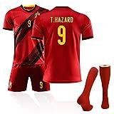 Belgien Trikot 10# Hazard 7# De Bruyne Fußballtrikots Für den Europapokal 2020 Trikot der belgischen Fußballfans, Trainingsuniformen mit Fußballsocken Custom- 9#-XL