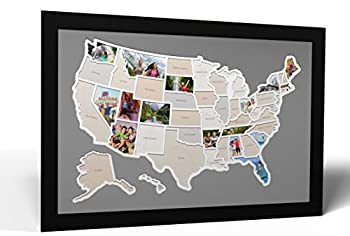 Thunder Bunny Labs 50 States USA Photo Map - Frame Optional - Made in America  Driftwood Black Frame