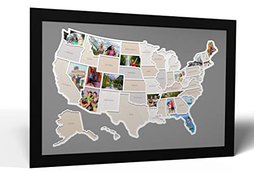 Thunder Bunny Labs 50 States USA Photo Map - Frame Optional - Made in America (Driftwood, Without Frame)