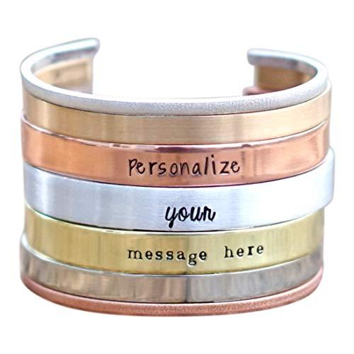 Personalized Cuff Bracelet for Men in Silver, Bronze, Nickel, Gold, or Copper, Bangle Bracelet, Hand Stamped, Custom Cuff Bracelet, Coordinate Bracelet, GPS Bracelet - Custom Gifts