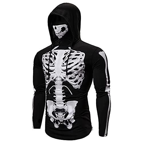 Sweatshirt for Men's Hoodies Fashion Long Sleeve T-Shirt Full Skeleton...