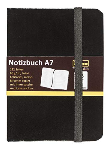 Idena 10033 - Notizbuch DIN A7, Liniert, Papier Cremefarben, 96 Blatt, 80 g/m², Hardcover in Schwarz, 1 Stück