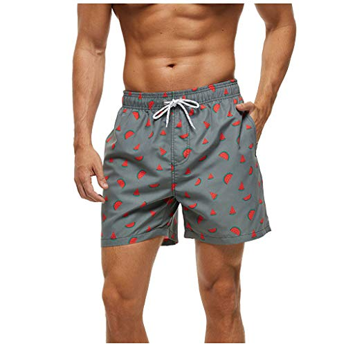 FORUU Beach Shorts Sale for Men 2020 Summer Quick Dry Vacation Waterproof Swim Shorts with Pockect Board Shorts Retro Casual Cute Swim Trunks Best Swim Trunk for Love Handles Gray
