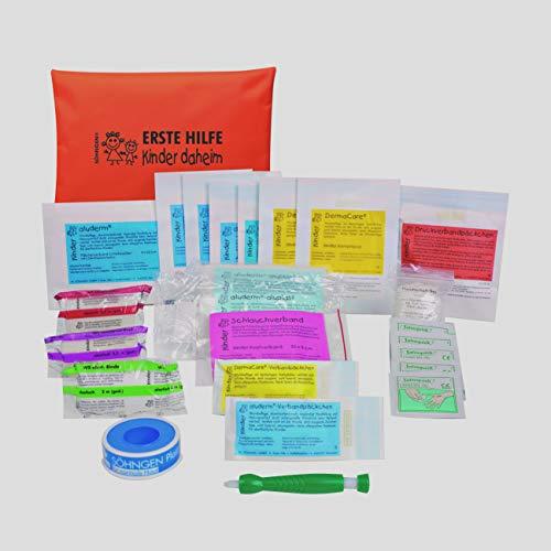 Söhngen Erste-Hilfe-Set Kinder daheim orange (Kompakte Reißverschlusstasche für Kinder; alle Altersstufen; griffbereit mit speziellen aluderm Wundauflagen) 0350001o