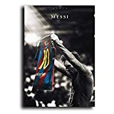 WENYOG Cuadro En Lienzo Fútbol Sport Star Lionel Messi Retro Poster Impresiones Fútbol Jugador de fútbol Lona Pintura Habitación Ilustración de Arte de la Pared Decoración del hogar Cuadros