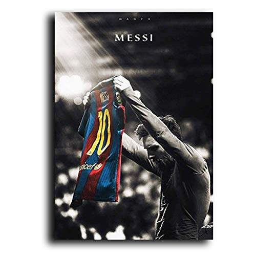 WENYOG Cuadro En Lienzo Fútbol Sport Star Lionel Messi Retro Poster Impresiones...