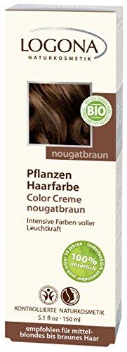 LOGONA Naturkosmetik Coloration Pflanzenhaarfarbe, Color Creme - 240 Nougatbraun - Braun, Natürliche & pflegende Haarfärbung (150g)