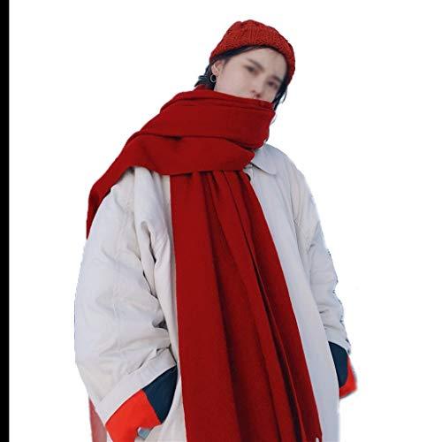 Liangzishop Winterschal Damen roter Schal Herbst und Winter-Reise Schießen Nationale Art Troddelschal Frühling und Sommer-Mode Großer Warmer Schal Damen Schal (Color : Red)
