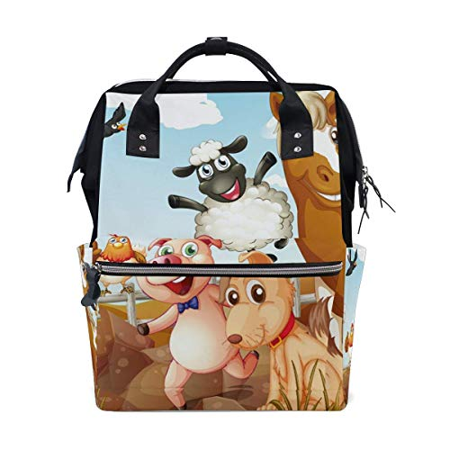 FHTDH Bebé Cambio de pañales Bolsos cambiadores Mochi Hipster Elephant Large Capacity Diaper Bags Fashion Mummy Bag Tote Bags Large Capacity Multi-Function Backpack for Travel