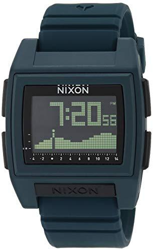 Nixon Base Tide Pro Dark Slate Men's Durable Surf Watch with Silicone Band (42mm. Black Digital Face/Dark Slate Silicone Band)