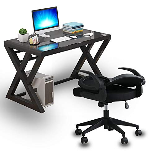 IPKIG Computer Desk and Chair Set, Office PC Laptop Desk + Ergonomic Office Chair Modern Office Study Gaming Work Writing Desk Table for Home Office Workstation (Z-Shape-39.3 Inch with Black Chair)