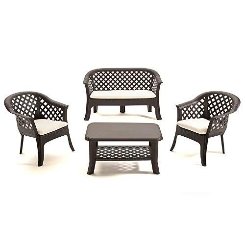 Dmora Set da Esterno con 1 tavolino, 1 panchina e 2 sedie, con Cuscini, Made in Italy, Color Moka