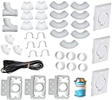 ZVac Universal Central Vacuum 3 Inlet Installation Kit Pre-Packaged with Wall Plates, Elbows, Brackets,...