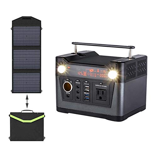 300W Tragbare Solaranlage (Solargenerator + Solarpanel) Notfall Home Rescue Mobile Power Outdoor Camping Power Box (Color : 60W+220V)