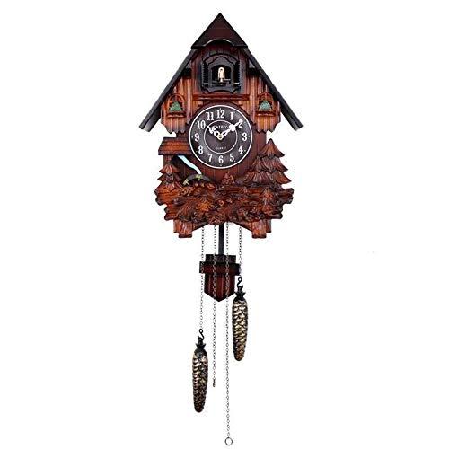 EDCV Koekoeksklok Wandklok 14 inch Houten Klassieke woonkamer Uurlijkse uuroproep Vogel Tell Time Hang Clock, donkerbruin