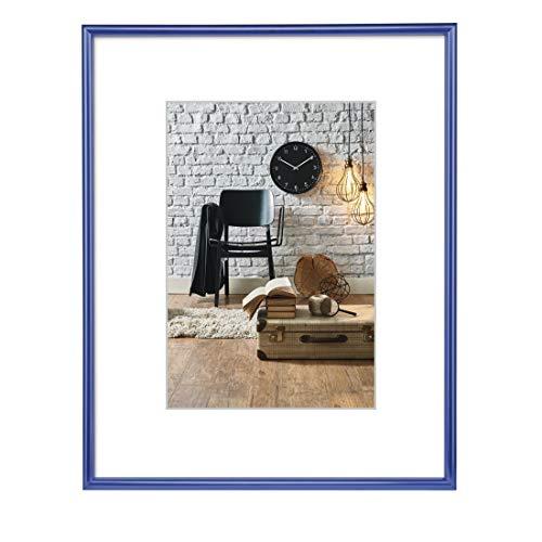 Hama Bilderrahmen Sevilla DIN A3 (29,7x42 cm) (Fotorahmen mit Papier-Passepartout 18x24 cm, Rahmen aus bruchsicherem Kunststoff Glas zum Aufhängen) blau