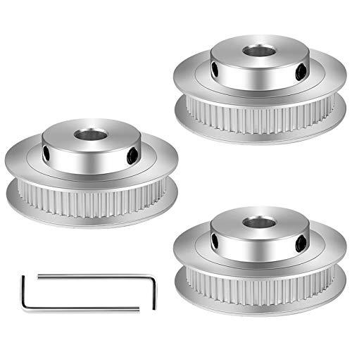 Puleggia Sincrona, 3 Pezzi Puleggia Dentata GT2 Adatte per Stampante 3D, Pulegge per Cinghie Dentate con 60 Denti Con la Funzione Anti-gioco (2 Chiavi)
