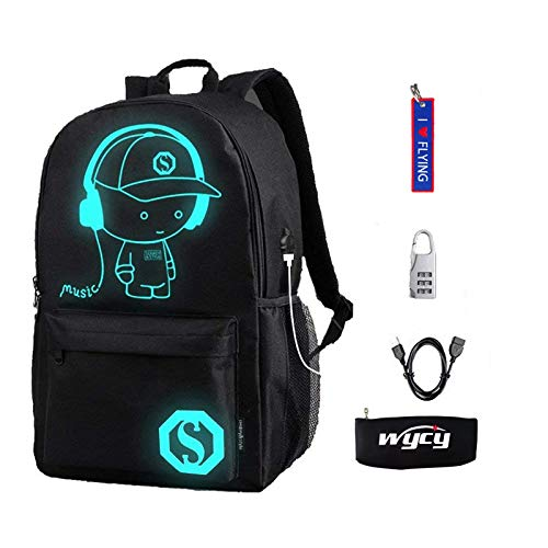 WYCY Anime Luminous Backpack Fashion Schoolbag with USB Charging Port and Anti-theft Lock Pencil Case, Unisex School bag with Embroidered Keychain Pendant (Black Music Boy)