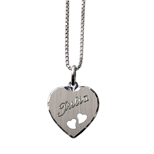 Sterling Silber Herz Anhänger für Kinder mit Sterling Silber Kette mit SOFORTGRAVUR + VORSCHAU: Gravur auf der Vorderseite (1 Vorname oder Datum)
