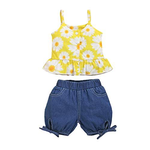 LEXUPE Sommer Kleinkind Baby Mädchen Hosenträger Sonnenblume Weste Tops + Jeansshorts Outfits(Gelb,110)