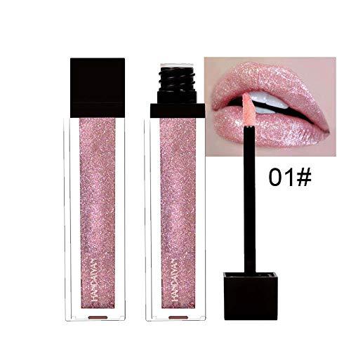 XCBCVHG Rouge à lèvres Liquide Glitter, Brillant à Lèvres Liquid Lipstick Pailleté Makeup Rouge-à-lèvres Longue Tenue Plumper Maquillage à Lèvres Waterproof
