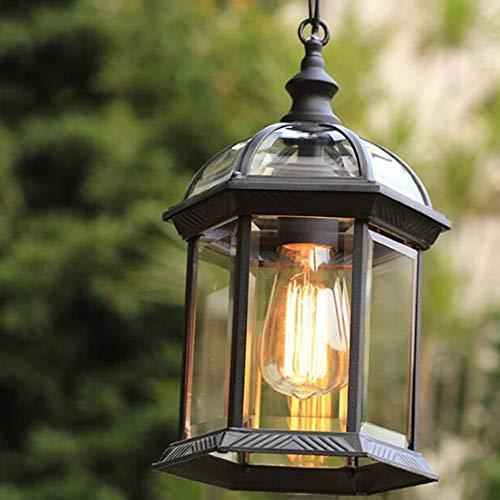 Lampada A Sospensione Regolabile In Altezza Vintage Lampadari Per Esterni/Interni E27 Nero Impermeabile IP23 Pendant Light Paralume In Alluminio In Vetro Corridoio Balcone Gazebo Illuminazione (C)