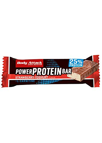 Body Attack Power Protein Bar, Eiweißriegel mit L-Carnitin & Vitaminen, 24x 35g (Strawberry-Yoghurt)