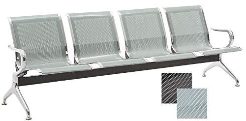Chaises Salle d'Attente sur Poutre Airport - Meuble Salle d'Attente Ergonomique et Accoudoirs - Chaise sur Poutre en Métal avec 2, 3 ou 4 Pl, Couleurs:Argent, Taille:4 Places