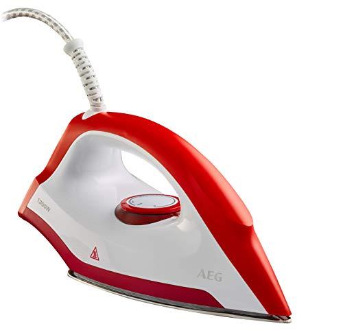 AEG LB 1300 Trockenbügeleisen (Flache Edelstahl-Bügelsohle, schmale Bügelspitze, Leichtgewicht, ergonomischer Griff, schnelles Aufheizen, variable Temperatureinstellung, 1,9 m Kabel, rot/weiß)