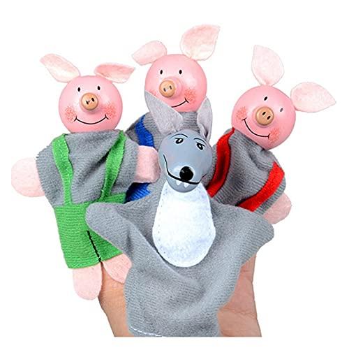 XIALITR Marionetas de Mano 4 unids Dedo Tres pequeños Cerdos y Lobo Mini Peluche Juguete bebé Juguete Dedo títeres de Dedo Historia educativa Mano títere paño muñeco Juguetes (Color : Random)