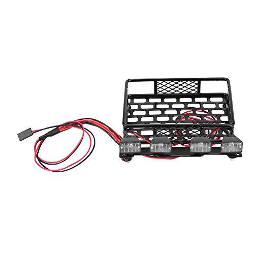 Dilwe Kleines Dachgepäckträger-Gepäckträger mit 4 Quadrate-LED-Leuchten für Axial SCX10 1/10 Remote Crawler Car( 2 Weiß 2 Rot)