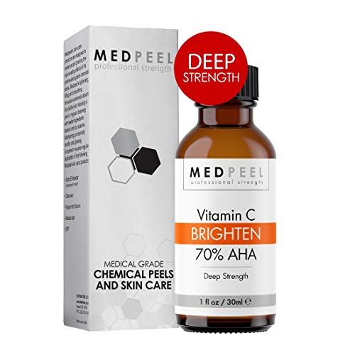 MedPeel 70% AHA & Vitamin C Brightening Chemical Peel, Deep Strength Professional & Medical Grade Chemical Face Peel at Home, Reduce Age Spots, Mild Scarring & Uneven Skin Tone all Skin Types 1oz/30ml