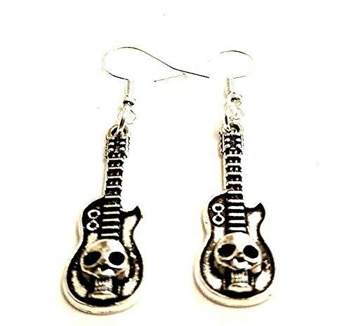 Pendientes de calavera para guitarra eléctrica con ganchos de plata de ley, regalo para amantes de la música