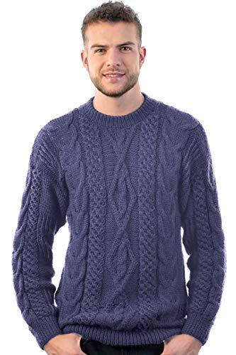 INTI ALPACA Alpaka Pullover - Irischer Herren Pullover mit Aran Zopfmuster aus alpaka Wolle -Rundhalskragen Strickpullover - Handgestrickter - Stahlblau (Large)