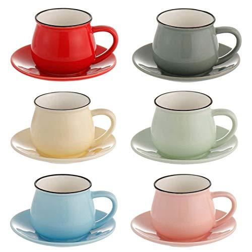 Winlauyet 6 Set Keramik Kaffeetasse Elegante Espresso Teetassen mit Untersetzer Mug Set mit Geschenkbox
