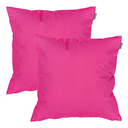 Coussin d'extérieur - 43 cm x 43 cm - Garnissage en fibre - Résistant à l'eau - Coussins décoratifs arc-en-ciel pour banc de jardin, chaise ou canapé L rose
